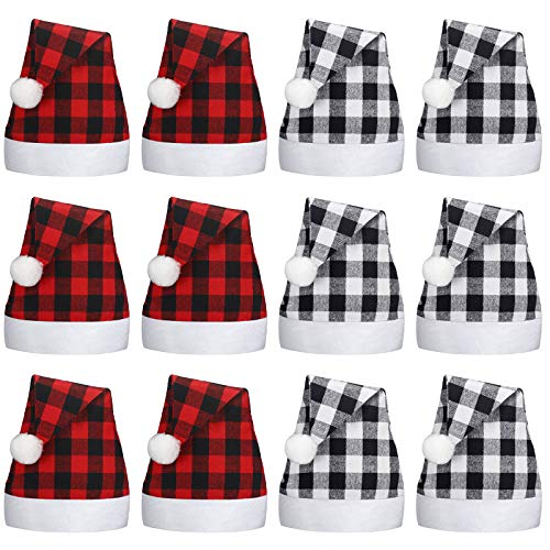 12 Pieces Christmas Santa Hat Xmas Non Woven Fabric Hat Santa Plaid Cap for Xmas Holiday Party (Red Black and Black White)