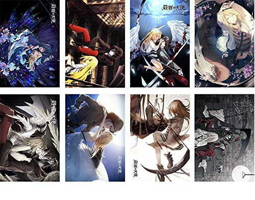 elkJoy Japanese Anime Poster Art Prints for Home Wall Decor, Set of 8 PCS, 11' x 16' (Angels of Death)