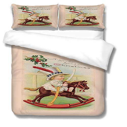 HLL Bedding set 3 pieces 3D Christmas style printing Child riding a wooden horse with zipper closure suitable for children boys and teenagers