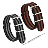 Twin Pack Bond Style NATO Nylon Watch Straps by Sniper Bay®| 18mm 20mm