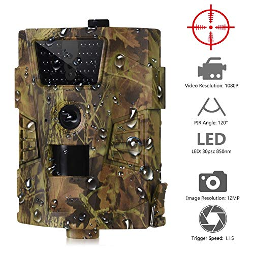 YOUNG4 Jagdkamera 12mp 1080p 30led 850nm Ip54 Wasserdichter 120-Grad-Winkel Wildkamera Hinterkamera Wildkamera Wild Scouting Game Camera
