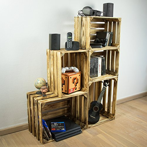LAUBLUST 3er Set Große Vintage Holzkisten - 40x30x25cm, Geflammt, Neu, Unbenutzt | Möbel-Kiste | Wein-Kiste | Obst-Kiste | Apfel-Kiste | Deko-Kiste aus Holz - 4