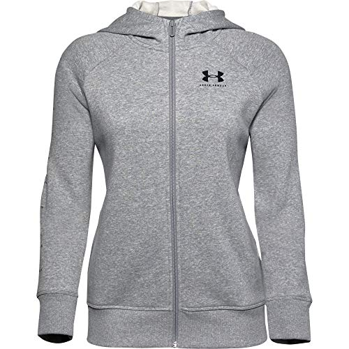 Under Armour Women's Rival Fleece Sportstyle LC Sleeve Graphic Full Zip, Steel Medium Heather (035)/Black, Large