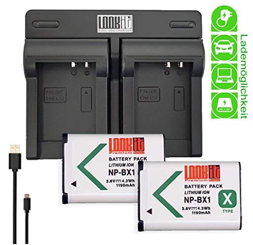 LOOKit Dual Ladegerät +2x LOOKit Akku BX1 (echte 1190mAh) für Sony DSC HX99 HX95 HX350 DSC-RX100 V FDR-X3000R HDR-AS300R HX350 DSC-RX100M5 HX80B RX100 IV HDR-AS50 HX90 V RX100 III RX1R HDR-AS100V bx1