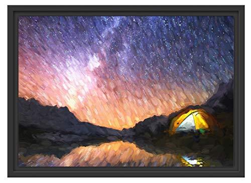 Picati Zelten unter tausenden Sternen im Schattenfugen Bilderrahmen | Format: 55x40 | Kunstdruck auf hochwertigem Galeriekarton | hochwertige Leinwandbild Alternative