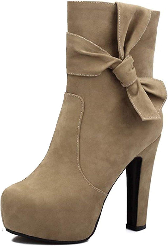 Ghssheh Women's Elegant Bowknot Faux Suede Round Toe Side Zipper Chunky High Heel Platform Short Boots Black 8 M US