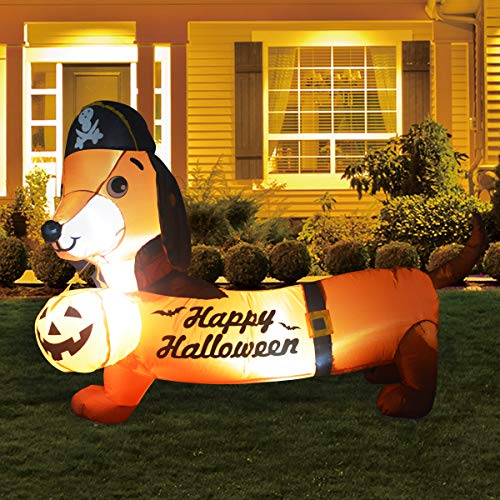 GOOSH 5FT Inflatable Halloween Dog Blow Up with a Pumpkin and Pirate hat Inflatables Halloween Outdoor Indoor Party Garden Lawn Yard Decorations