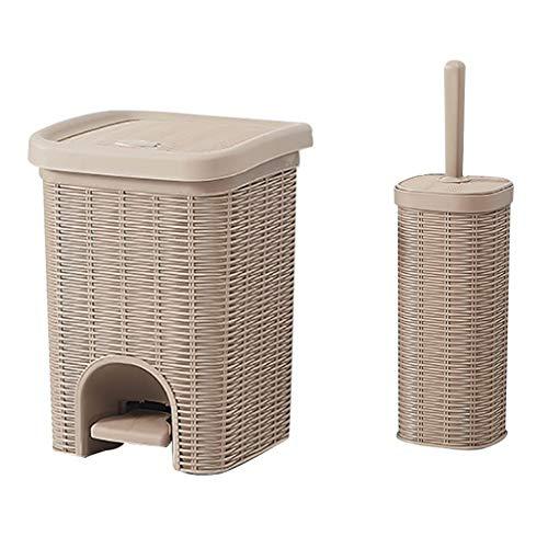Poubelle- Plastique tissé pédale Poubelle avec toilettes Brosse, Convient for Bureau, Salon Chambre Cuisine (Color : Khaki, Size : Large+toilet brush)