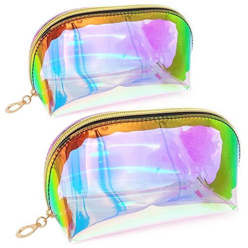 JJQHYC 2 Piezas Bolsa Maquillaje Holografica Bolsa Cosmética láser Transparente Portátil Impermeable para Cosméticos en Viajes Baño(2 tamaño
