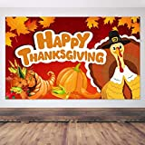 Jocacti Happy Thanksgiving Banner Fall Decorations Turkey Maple Leaves Pumpkin Banner Thanksgiving Background Thanksgiving Backdrop Banner for Fall Party Supplies 70.9x43.3 Inches