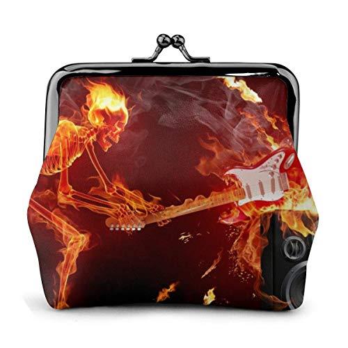 Skull Bone Skeleton Flame Guitar Smash Vintage Pouch Girl Kiss-Lock Cambiar Monedero Monederos Hebilla Monederos de Cuero Llave