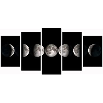 sechars - Canvas Wall Art Prints The Moon Phases Pictures to Photo Paintings on Canvas Wall Art for Home Office Decorations,5 Pieces Stretched Artwork Artwork Ready to Hang