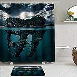LISNIANY Conjunto De Ducha Cortina Alfombra,Decoración mágica de la Isla Azul del cráneo del Dinosaurio,Uso en baño, Hotel
