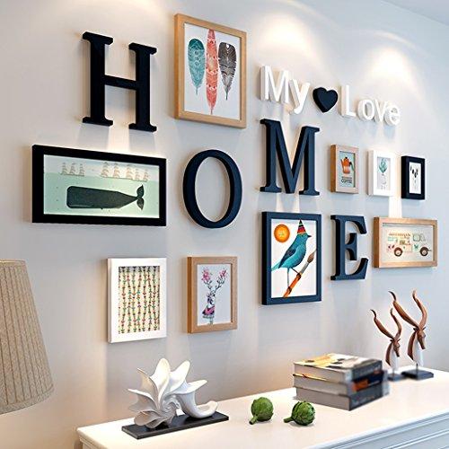 Rahmen Holz-Foto-Wand, kreatives modernes einfaches Wohnzimmer-Restaurant-Verein-Foto-Rahmen hängende Wand-Kombination-Dekoration-dimensionaler visueller Effekt-Stab Haus Dekoration ( Farbe : D )