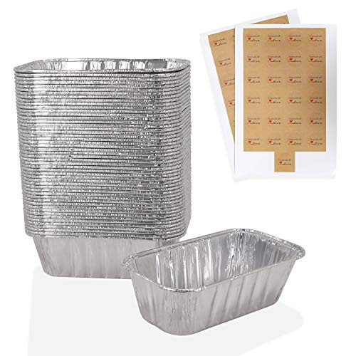 """Mwnxia Aluminum Mini Loaf Pans (50 Pack) Disposable Small Foil Loaf Baking Pans Complete with 50 """"Homemade with Love"""" Stickers – 1 Lb – 6"""" X 3.5″ x 2″ Perfect for Baking Bread Meatloaf Cakes Lasagna"""