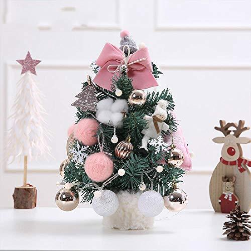 NP Decoraciones navideñas 30Cm 45Cm 60Cm Juego de Mini árbol de Navidad Multicolor Tablero de Mesa Adornos para árboles de Navidad con Luces Rosa Dorado Beige Gris Rojo Cuadros Árbol de Nieve
