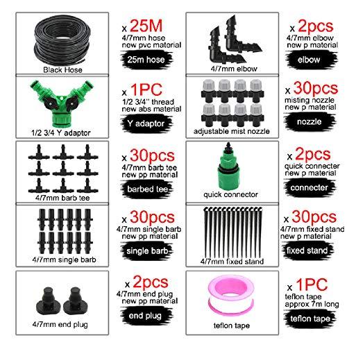 HtapsG Tröpfchenbewässerungsbausätze 50M DIY Micro Kit Mit 4 / 7Mm Barb Und Mist Düse Outdoor Garden Plant Gewächshaus-E X Mj006Q