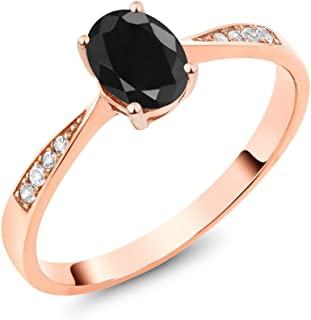 10K Rose Gold Oval Black Sapphire and Diamond Women's Engagement Ring (1.13 Cttw, Available in size 5, 6, 7, 8, 9)