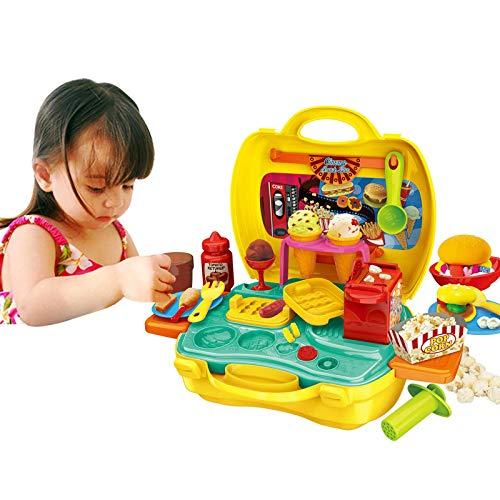 AOXING Mini juego de juguete familiar juego de rol incluye hacer hamburguesas patatas fritas helado, juego de juguetes para niños, juego de maleta, juego de juguetes para niños