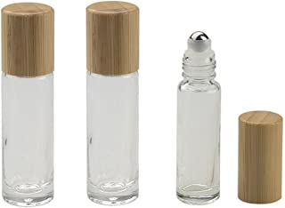 3PCS 10ML/0.35 oz Transparent Refillable Glass Essential Oil Roll-on Vial Bottles with Steel Roller Balls and Bamboo Lid Cosmetic Makeup Perfume Lip Gloss Storage Holder Packing Container Beauty Tool