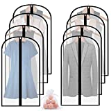 Moth Proof Garment Bags,8 Packs 48'' Clear Breathable Hanging Lightweight Dust Covers with Cedar Ball and Study Full Zipper for Storage Dance Dresses Jacket Coat Clothes Wardrobe and Closet
