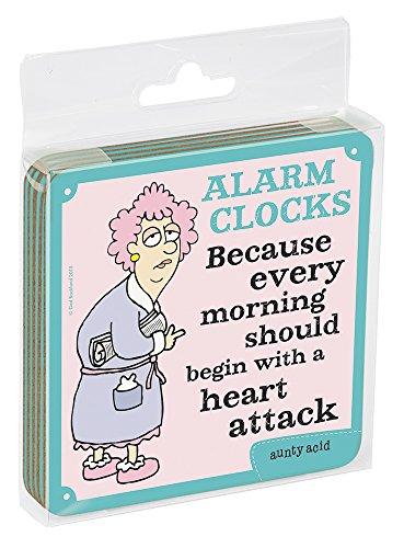 Tree-Free Greetings Aunty Acid Reloj Despertador Posavasos, Corcho, 3,75x 9,5x, Juego de 4