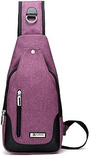 JLCK Bolso bandolera para hombre, bolso de pecho con puerto de carga USB, bolso bandolera impermeable para deportes al air...
