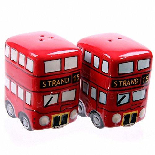 en céramique Bus Rouge de Londres Motif bus londonien Ensemble Poivre et Sel
