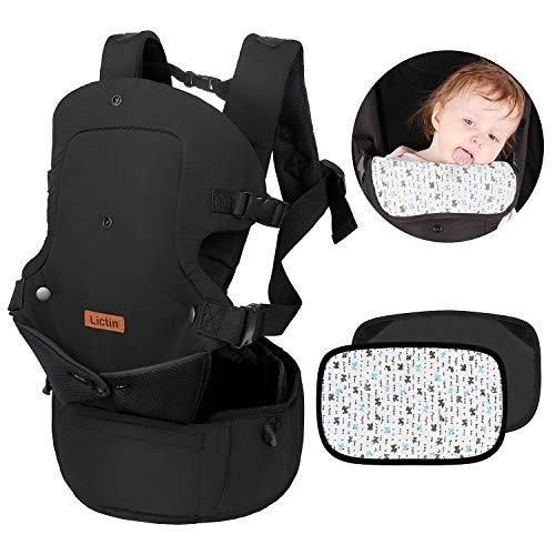 Lictin Babytrage Baby Carrier Ergonomische Tragetasche - Baby Tragegurt Knitterfest Innerhalb 15KG mit 2 Baumwoll Handtuch 4 Tragepositionen mit CE Zertifizierung