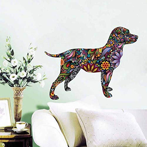 LBBWF Etiqueta Pared Sticker Mural Retriever Chien Motif Floral Couleur Stickers Muraux Pour Salon Ethnique Unique Stickers Muraux Papier Peint Décor À La Maison