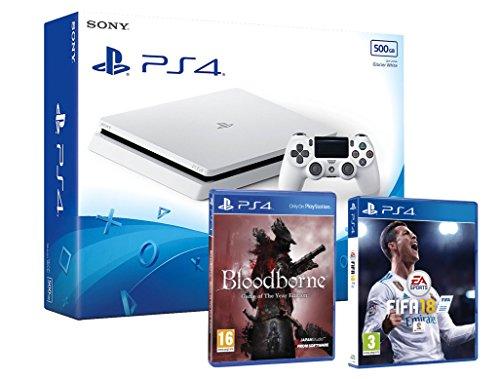 PS4 Slim 500Gb Blanca Playstation 4 Consola - Pack 2 Juegos - FIFA 18 + Bloodborne GOTY