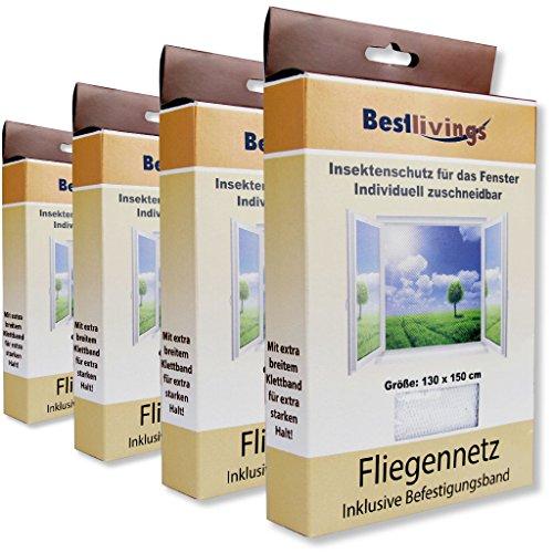 Bestlivings Mückennetz 4er Pack für Ihr Fenster 130x150 cm selbstklebend, in verschiedenen Ausführungen verfügbar (Weiß/Premium)