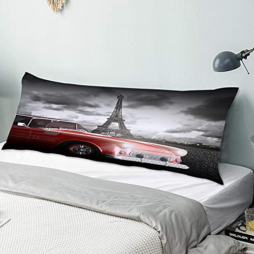 Personalizado Funda de Almohada Larga,Coche de época de París con Tour Eiffel en frío día Nublado Arte romántico Estilo,Funda de Almohada para el Cuerpo con Cremallera Sofá para Dormitorio,54' x 20'
