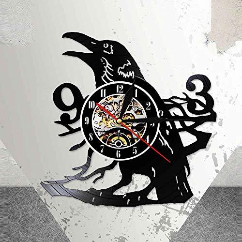 UIOLK Reloj de Pared de Cuervo Diseño Art Deco Reloj de Pared 3D Reloj de grabación de música de Vinilo y Reloj Iluminación LED Luz de Noche