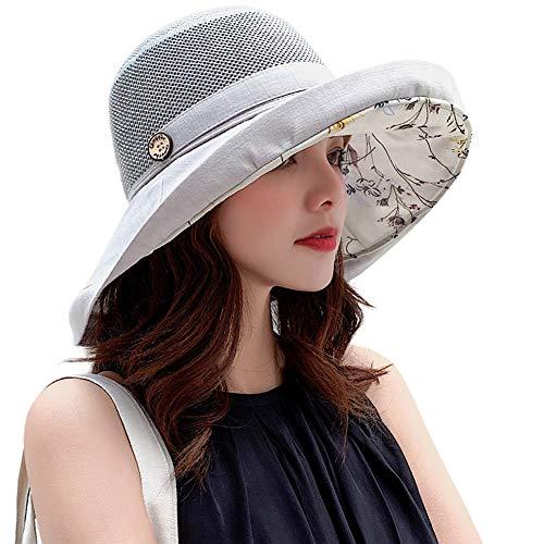 Women Mesh Sun Hats Summer Beach UV Protection UPF Packable Wide Brim Chin Strap (Grey)