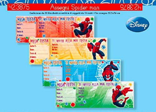 Subito disponibile 1 Pezzo Blocchetto Carnet da 15 INVITI Compleanno Spiderman 1 A Scelta
