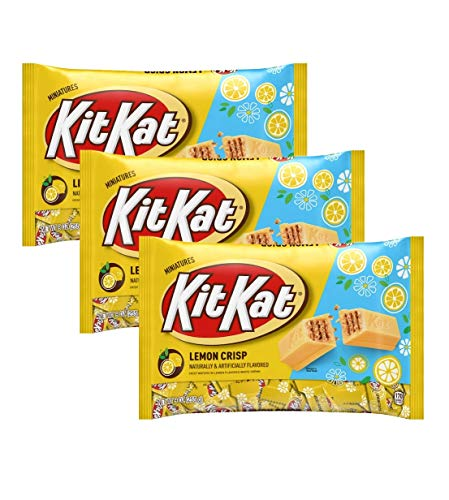 Kit Kat Lemon Crisp Miniatures Limited Edition Candy - Pack of 3 Bags - 9 oz Per Bag - 27 oz Total of Bulk Individually Wrapped Lemon Crisp KitKats - Crisp Wafers in Lemon Flavored White Creme