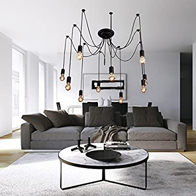 LightInTheBox Vintage Edison Multiple Ajustable DIY Ceiling Spider Lamp Light Pendant Lighting Chandelier Modern Chic Industrial Dining Room Lighting Fixture Flush Mount 10 Bulbs Included