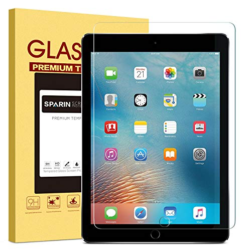 "New iPad 9.7"" (2018 & 2017) / iPad Pro 9.7 / iPad Air 2 / iPad Air Screen Protector, SPARIN Tempered Glass Screen Protector - Apple Pencil Compatible / High Definition / Scratch Resistant"