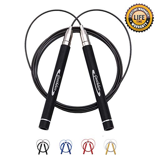 Goothdurs Adjustable High Speed Strong Aluminum Jump Rope - 360 Degree Spin Professional Fitness Training with Anti-Wear Pipe