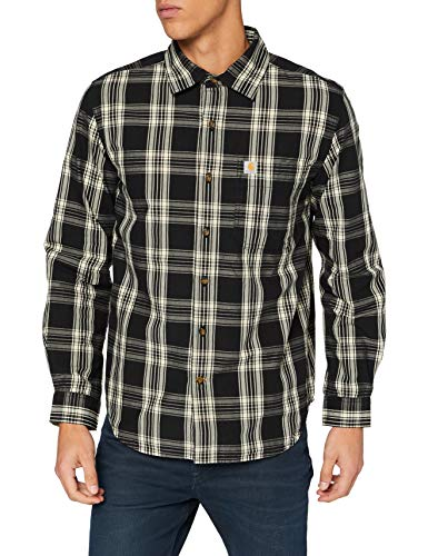 Carhartt Herren Long-Sleeve Essential Open Collar Plaid Shirt, Black, M
