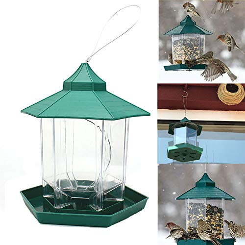 Old Tjikko Bird Feeders,Wild Bird Feeder, Automatic Bird Feeding Device for Garden Yard Outside Decoration with Hanging Metal Roof(Wild Bird Feeder)