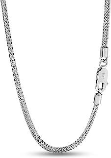 قلادة أنيقة 100% 925 من الفضة الإسترلينية 2 مم سلسلة تشوبين فضية متصلة مجوهرات فضية للرجال والنساء تصميم إيطاليا