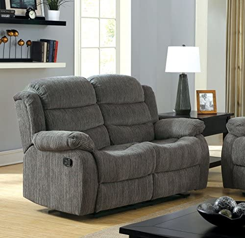 Best Furniture of America Blake Chenille Love Seat with 2-Recliner, Gray