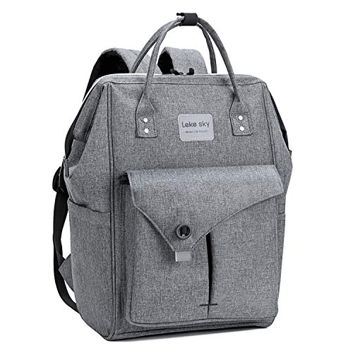 Lekesky Laptop Backpack 15.6 Inch Work Laptop Backpack Computer Backpack Business Backpack Water Repellent Travel Backpack for Women and Men, Grey