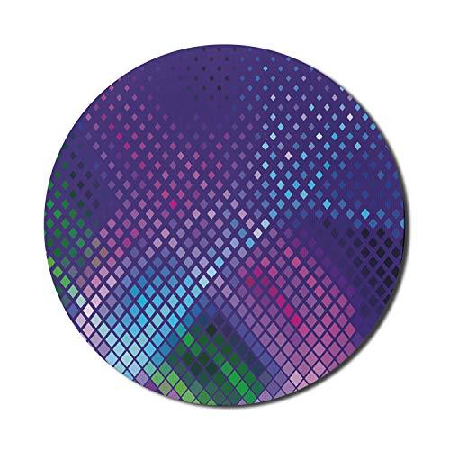 Alfombrilla para ratón Disco para Computadoras, Impresión de Cuadrados de Colores Geométricos en Diferentes Tonos, Alfombrilla Redonda Antideslizante de Goma Gruesa para Juegos Modernos, Redonda de 8