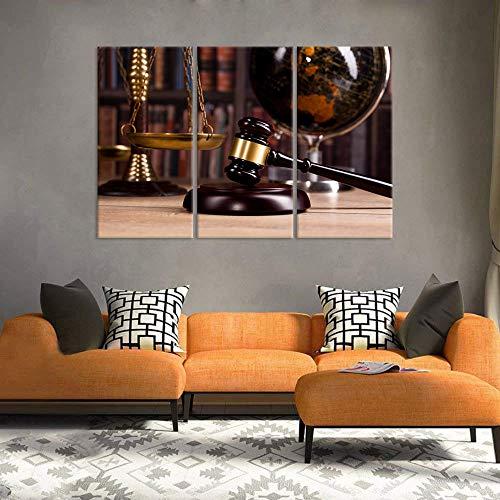 FYBSNDY Vintage Büro Room Decor 3 Stücke Leinwand Wandkunst Anwaltskanzlei Waage Gerechtigkeit Legal Hammer Old Globe Codex Bücher Bild Für Decor 35 cm X 50 cm X 3 Kein Rahmen