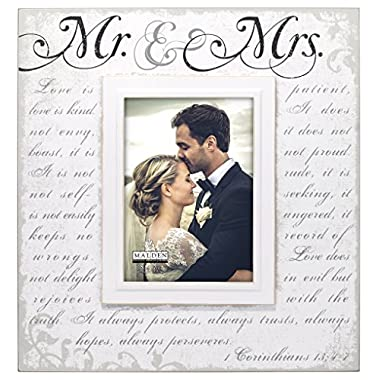 Malden International Designs Silkscreened Corinthians Verse Mr & Mrs Wood Picture Frame, 5x7, Off White