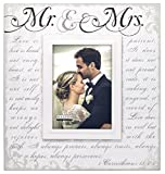 Malden International Designs Silkscreened Corinthians Verse Mr & Mrs Wood Picture Frame, 5x7, Off White