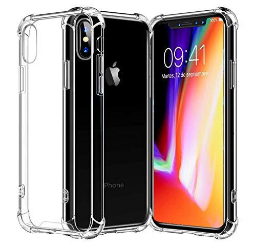 RKINC Funda para Apple iPhone X XS, Esquinas reforzadas Funda de TPU de cojín Suave Funda de Silicona Transparente Ultra Fina, Ligera, Flexible y Resistente a los arañazos para Apple iPhone X XS